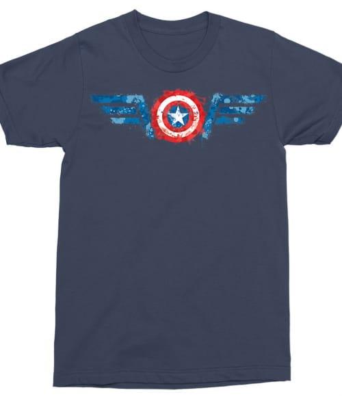 Captain America splash logo Póló - Ha Captain America rajongó ezeket a pólókat tuti imádni fogod!