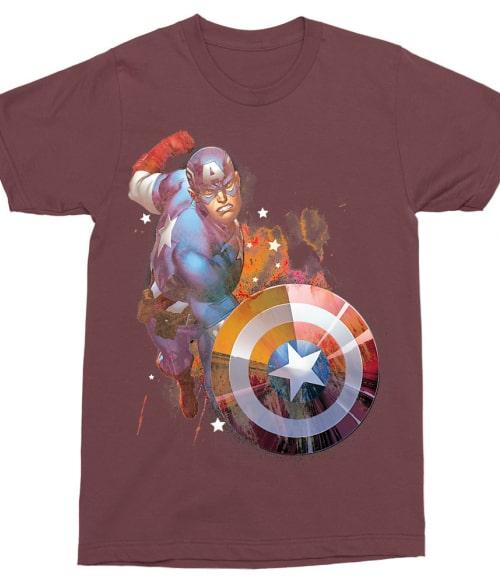 Captain America Watercolor splash Póló - Ha Captain America rajongó ezeket a pólókat tuti imádni fogod!