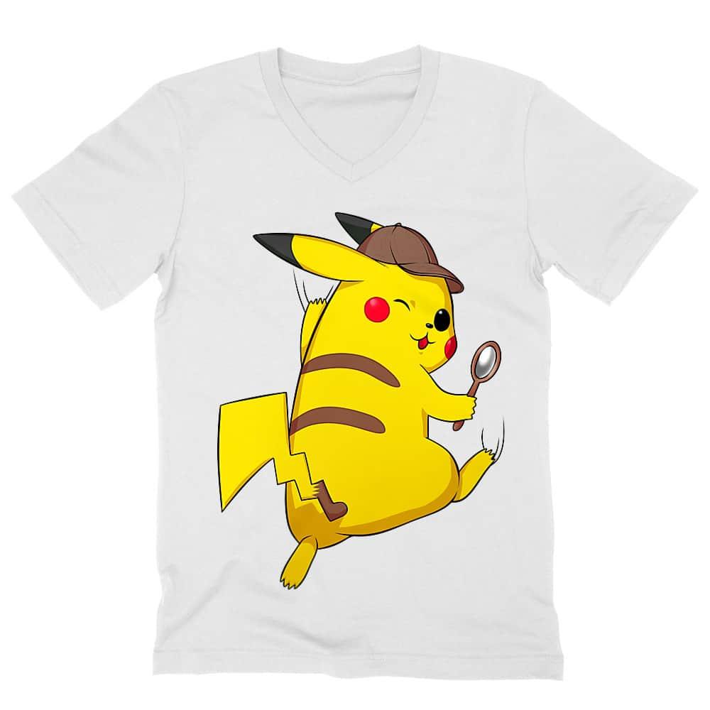 Detetktív Pikachu Férfi V-nyakú Póló